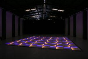 Blue and orange LED dance floor