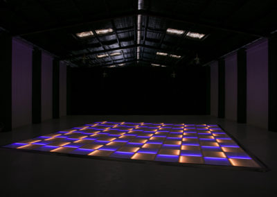 Blue and orange LED dance floor