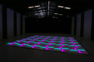 Purple and green LED dance floor