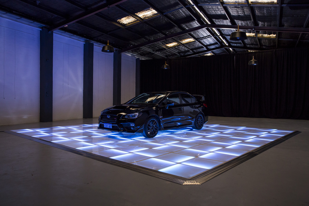 White and blue LED displaying car