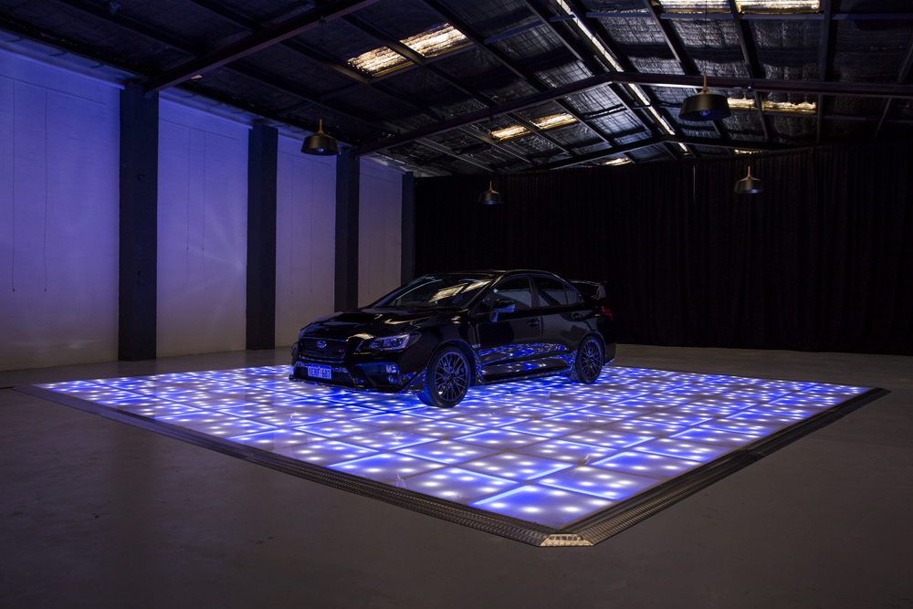 White and blue LED with stars displaying car