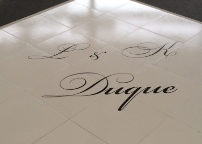 Dance floor with monogram