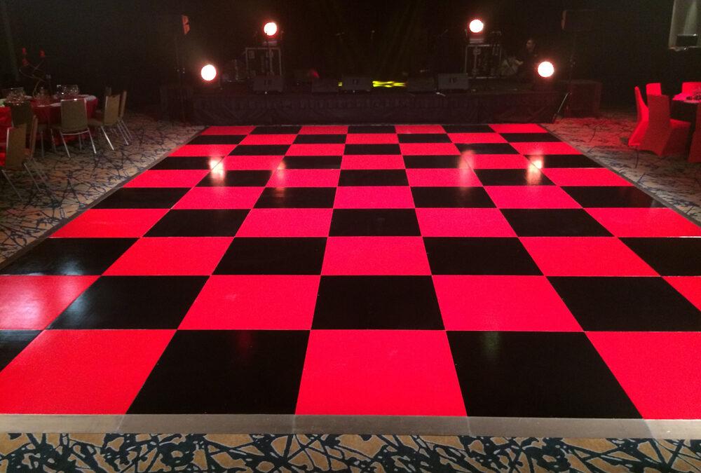 Checker board dance floor at Hyatt Hotel
