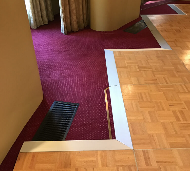 Custom shaped parquetry dance floor