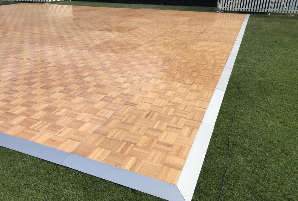 Parquetry dance floor at Domain Stadium