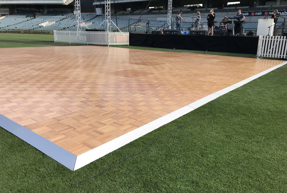 Parquetry dance floor for outdoors Awards night