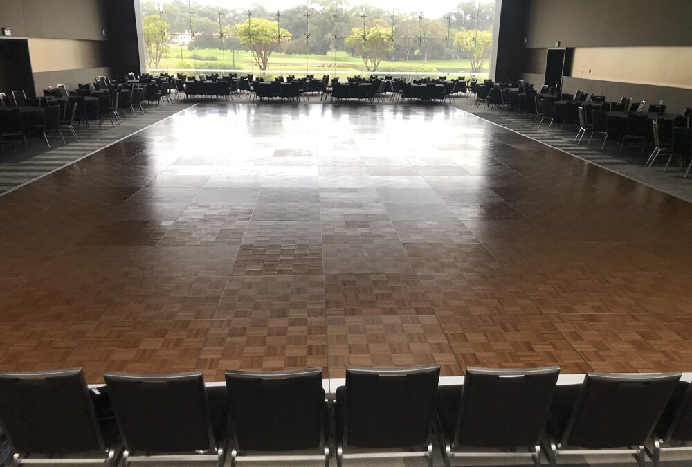 Parquetry dance floor for ballroom dancing competition