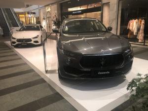 White display floor under Maserati cars