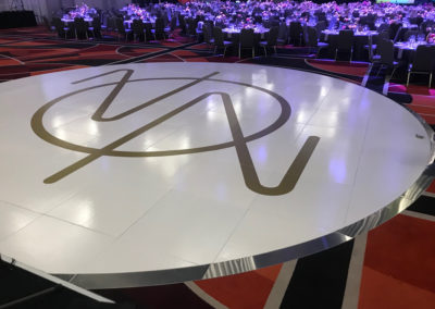 White Gloss Circle Dance Floor with monogram at Crown Resort