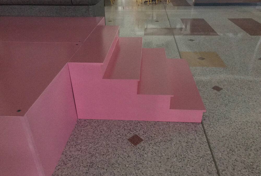 Pink stage with stairs