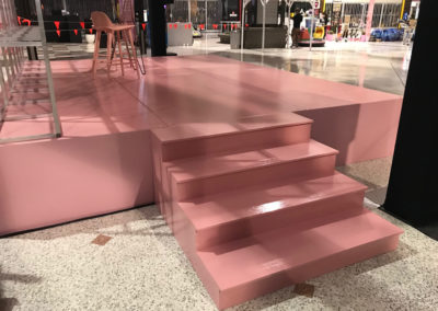 Pink stage with hard fascia