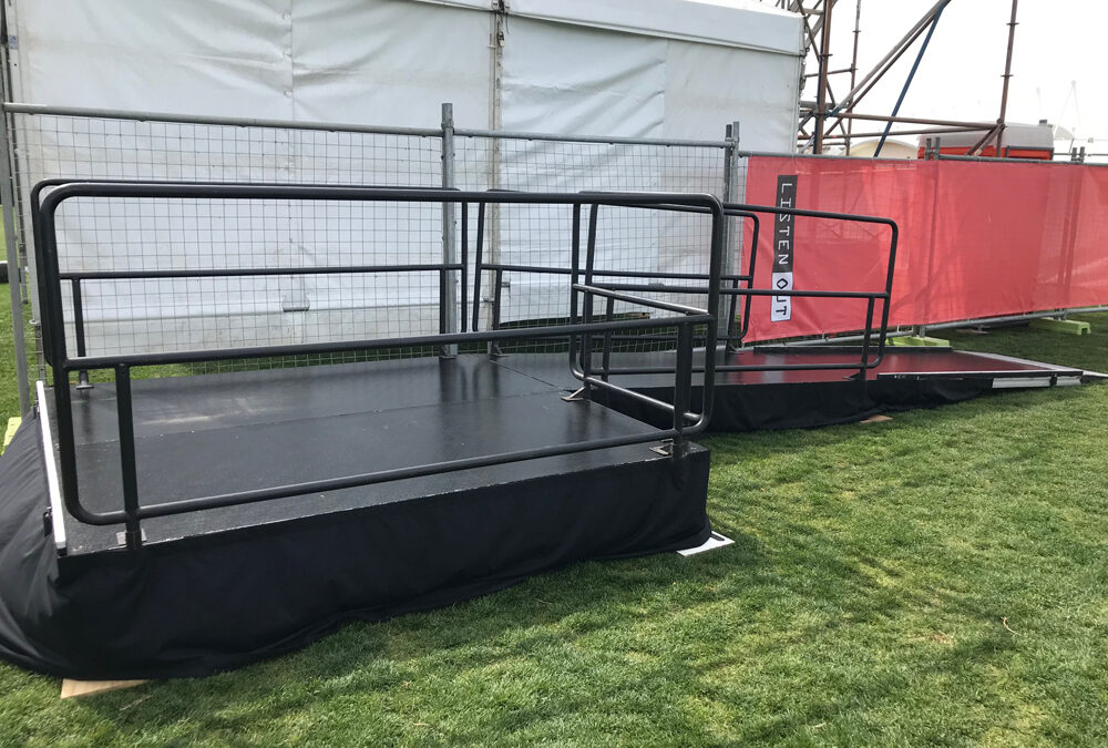 Stage and wheelchair ramp for music festival