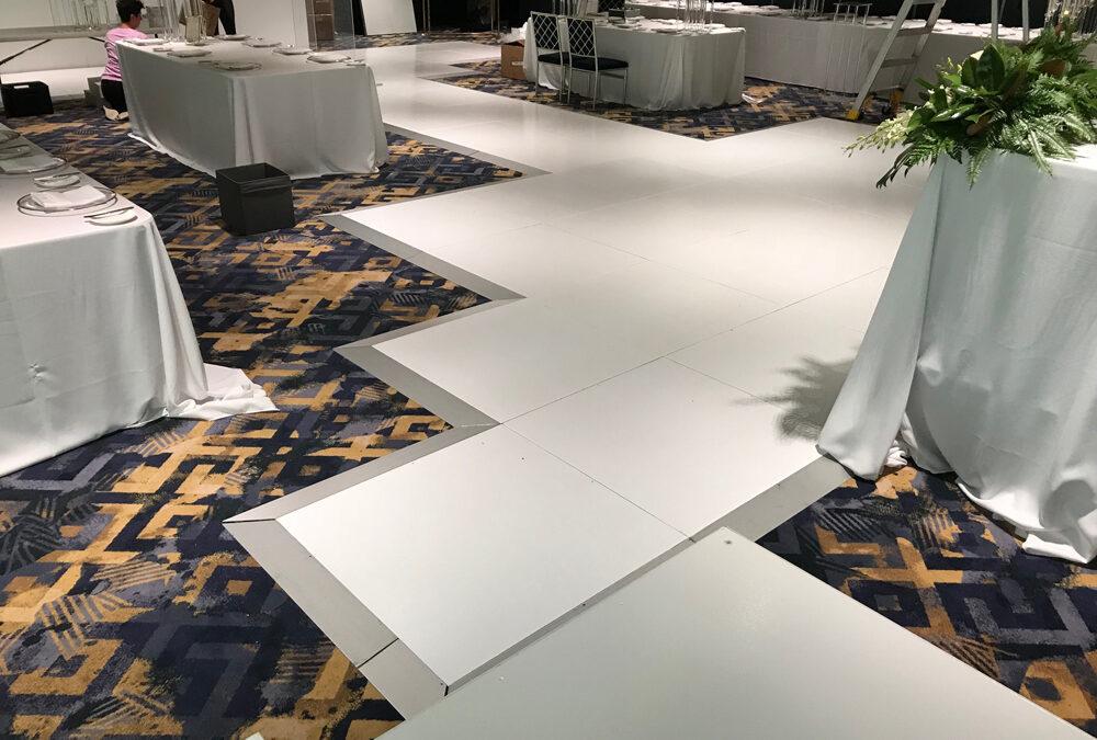 Custom shape white dance floor