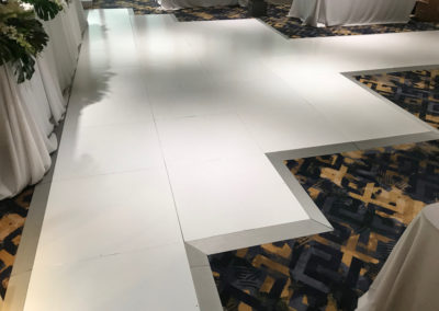 Custom dance floor to suit table layout