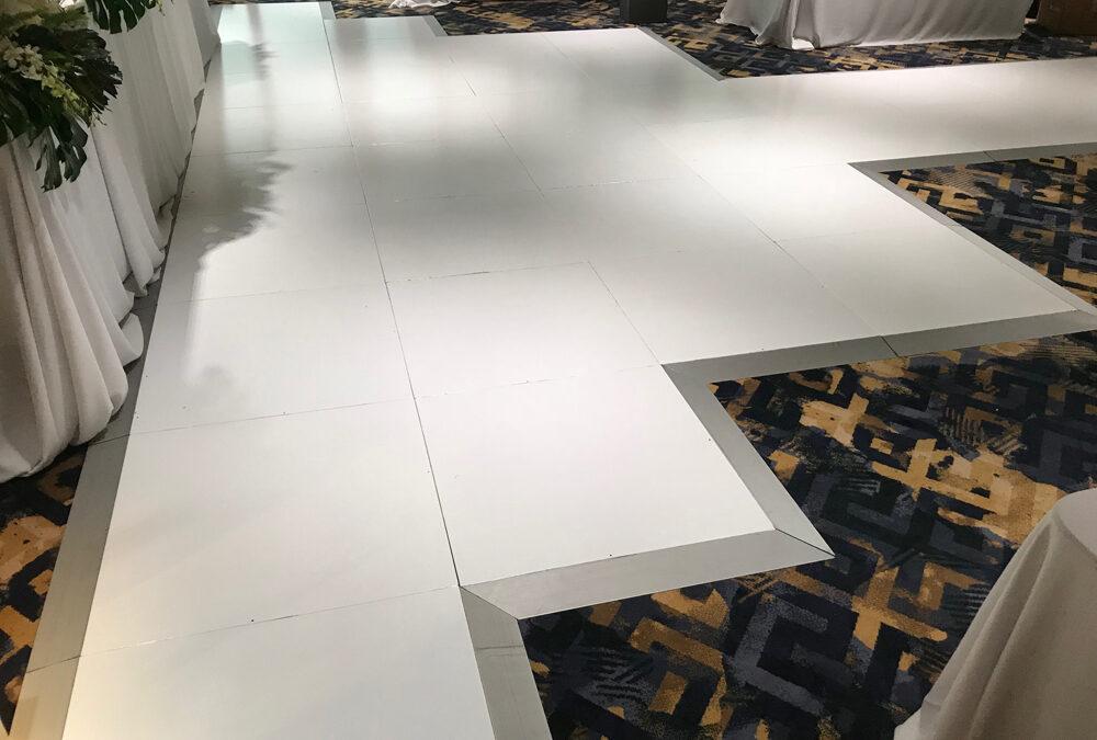Custom dance floor to suit table layout