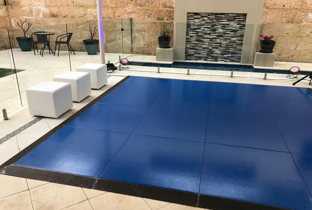 Gloss blue dance floor for birthday party
