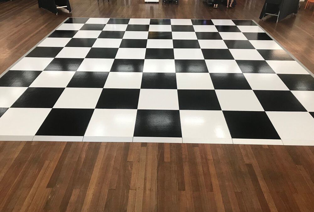 Checker board dance floor at University of W.A.