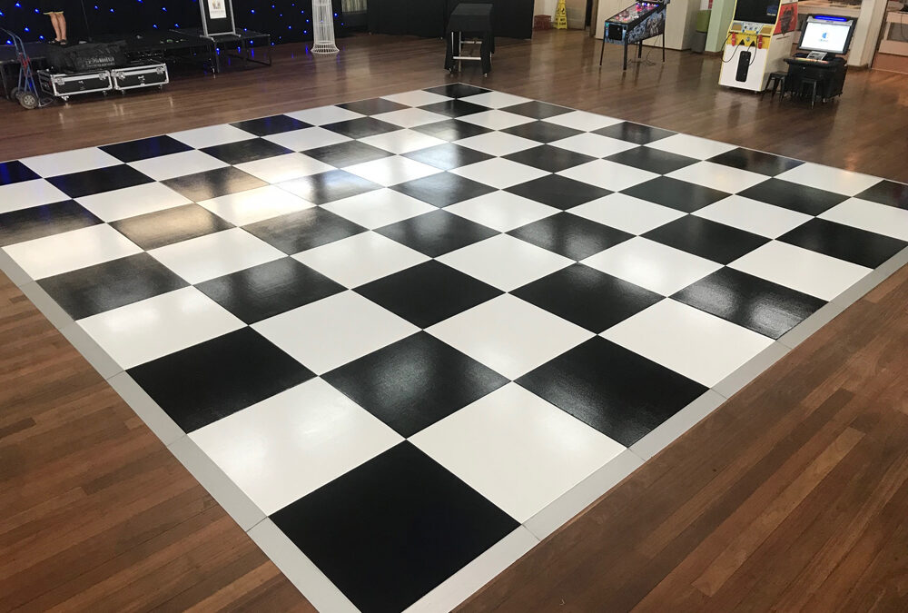 Black and white dance floor with silver edging