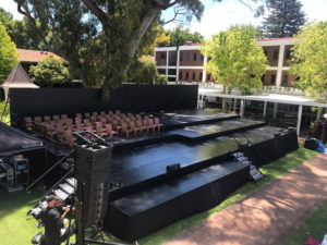 Multi-leveled stage outdoors