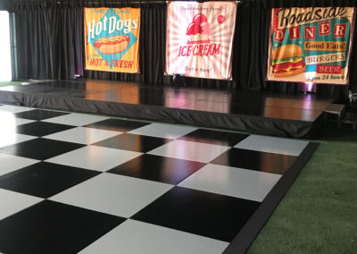 Dance floor with stage for band