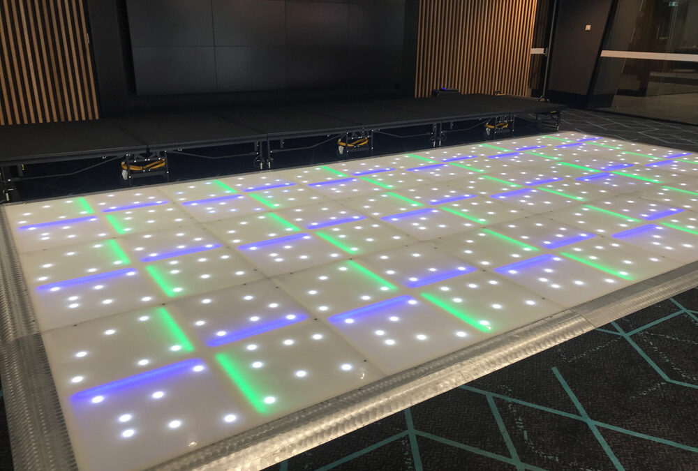LED dance floor with silver edging
