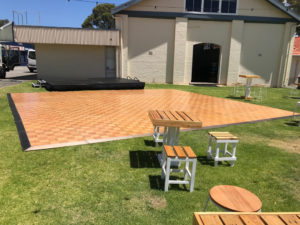 parquetry dance floor and stage