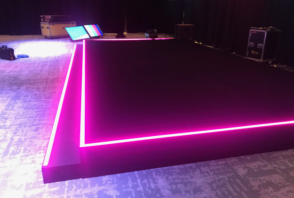 Stage with LED strip lighting