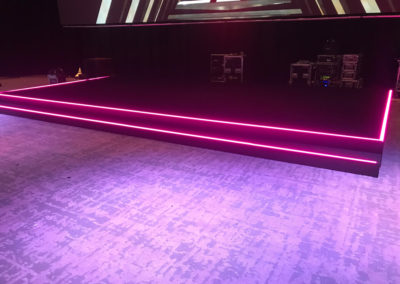 Custom LED strip insert to stage