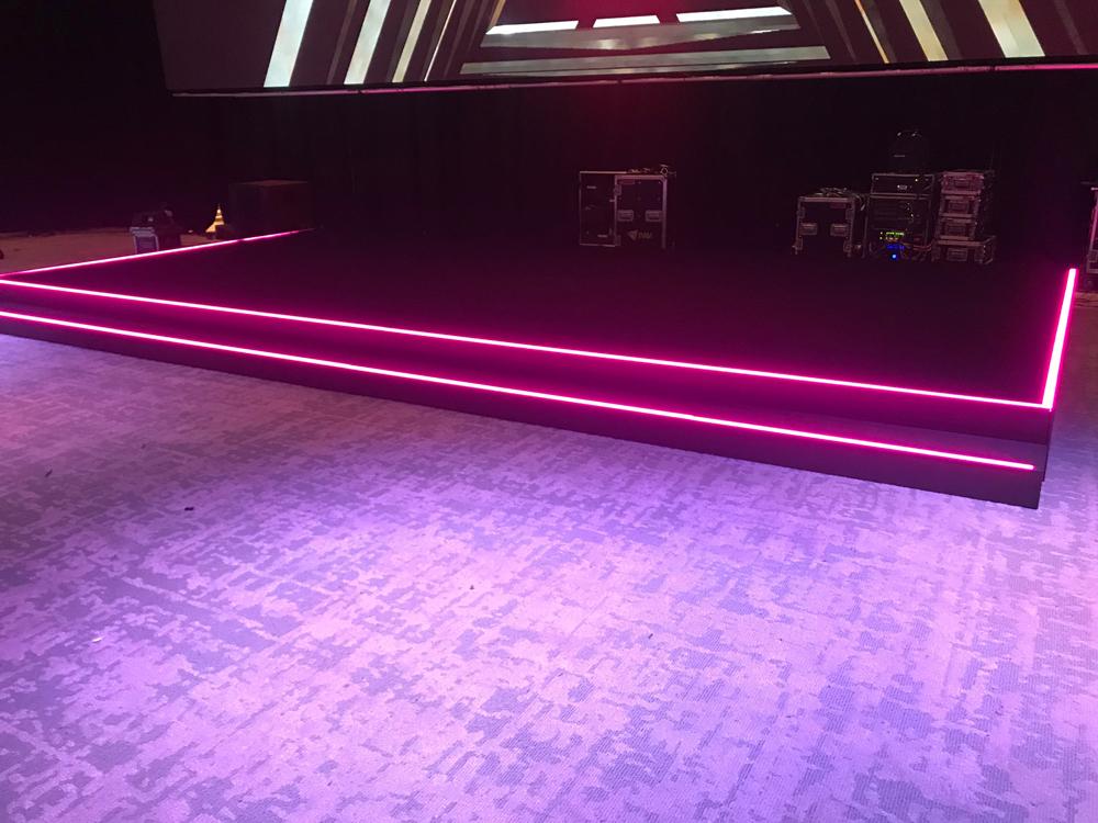 Custom LED strip insert to stage