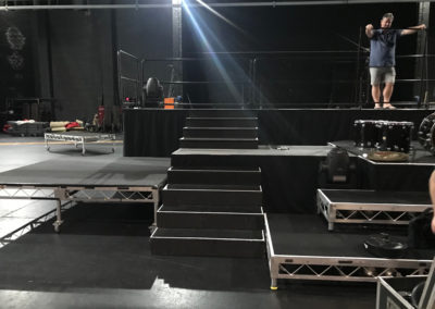 Rolling risers for band tribute show