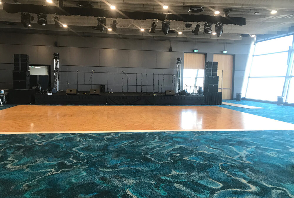 Parquetry dance floor for corporate event
