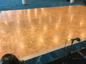 Dance floor with silver edging