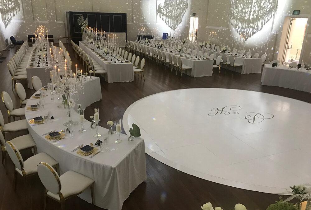 White Gloss Circle Dance Floor with Custom White Edging