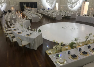 Wedding Dance Floor with matching curved tables