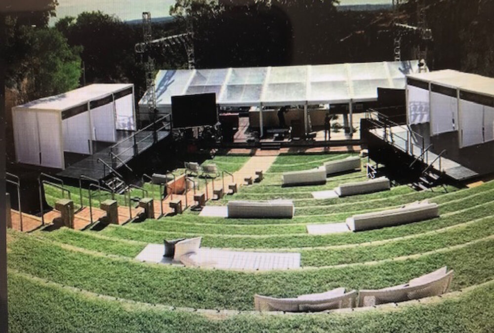 Large stages over uneven ground for corporate launch