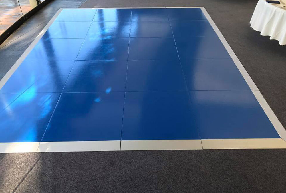Gloss Blue dance floor with silver edging