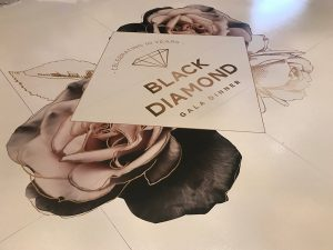 White Gloss Dance Floor with Logo for Lifeline WA Black Diamond Ball