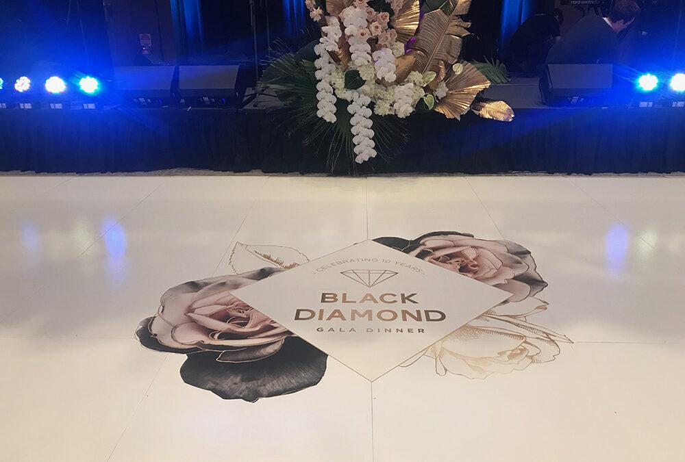 White Gloss Dance Floor with Logo for Lifeline WA Black Diamond Ball