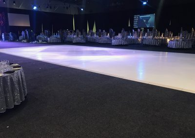 Massive white gloss dance floor 19m x 9m Perth Convention Centre