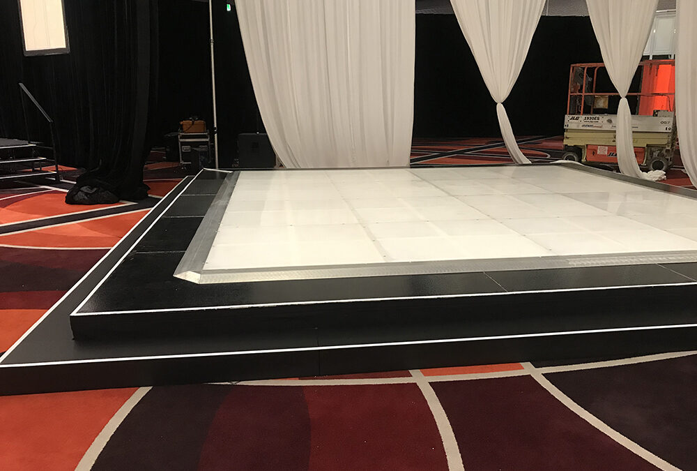 LED dance floor on a raised stage at Crown Perth