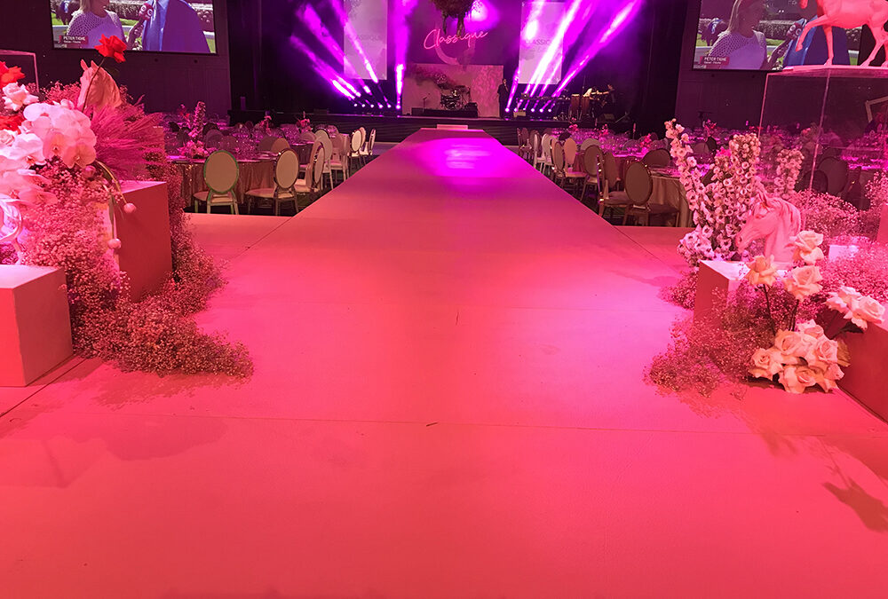 24m Bright Pink Runway for Crown Perth's Melbourne Cup luncheon
