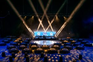 A beautiful white gloss dance floor with logo.