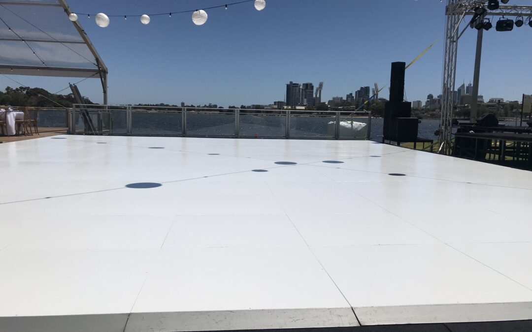 white gloss dance floor for a large corporate event